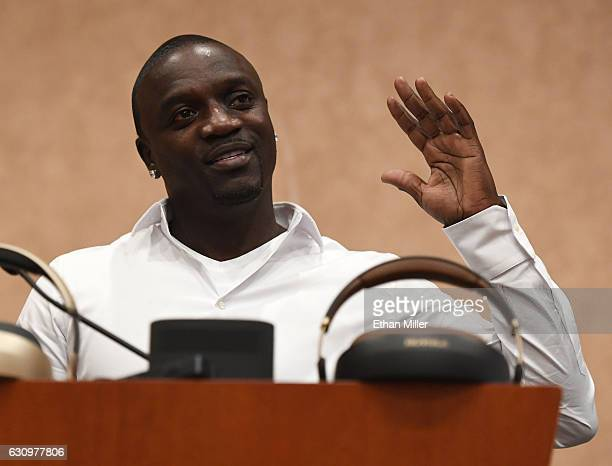 Recording artist and Royole Chief Creative Officer Akon speaks during a press event for CES 2017 at the Mandalay Bay Convention Center on January 4...