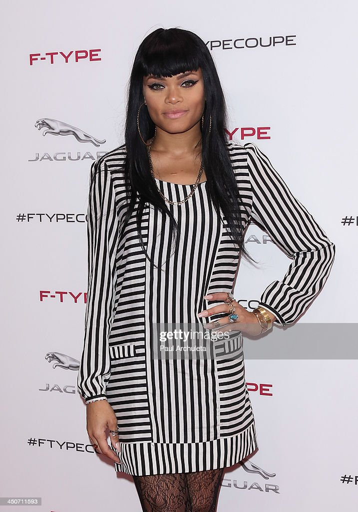 Recording Artist Andra Day attends the launch party for the Jaguar F-TYPE Coupe at Raleigh Studios on November 19, 2013 in Playa Vista, California.
