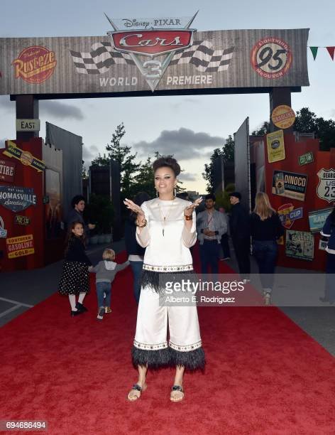 "Recording artist Andra Day poses at the after party for the World Premiere of Disney/Pixar's ""Cars 3"" at Cars Land at Disney California Adventure in..."