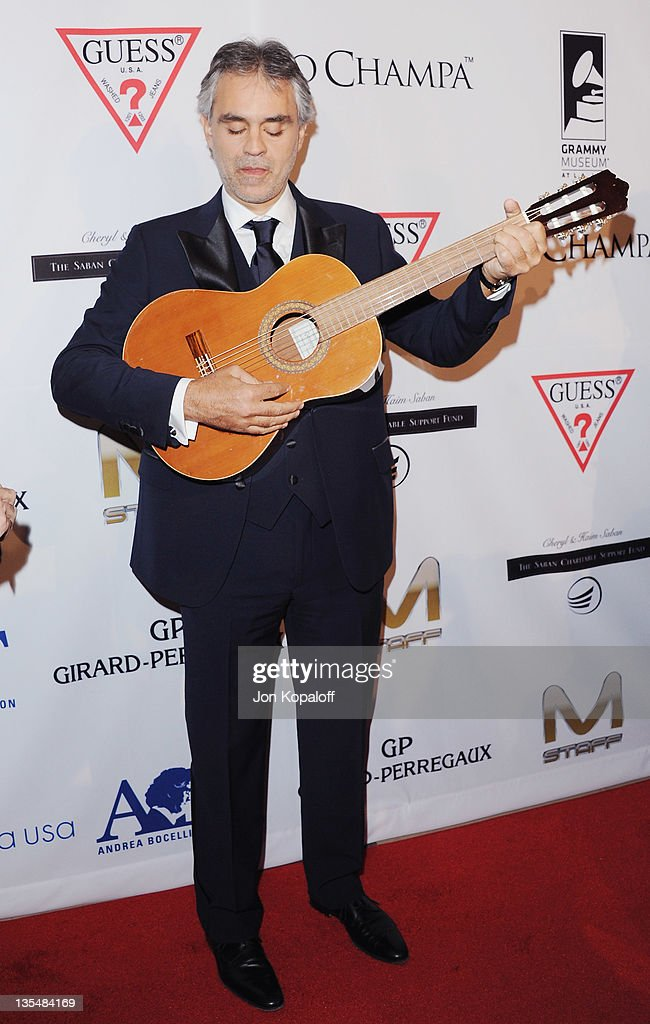 Recording artist Andrea Bocelli arrives at the Andrea Bocelli Foundation's 2011 Benefit Gala at The Beverly Hilton hotel on December 9 2011 in...
