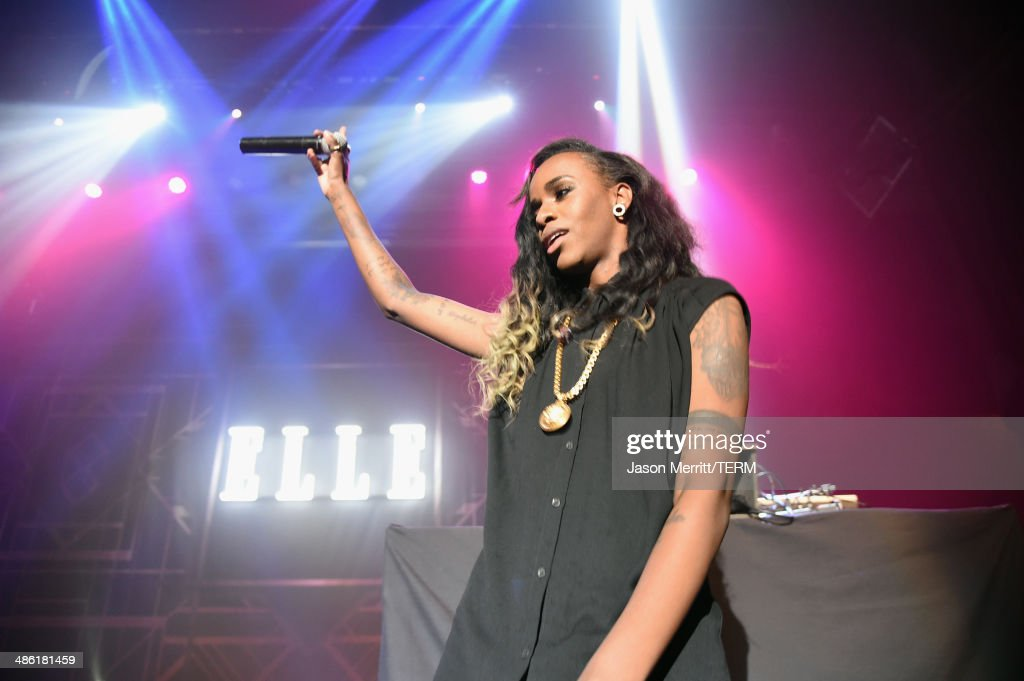 Recording artist <a gi-track='captionPersonalityLinkClicked' href=/galleries/search?phrase=Angel+Haze&family=editorial&specificpeople=9771696 ng-click='$event.stopPropagation()'>Angel Haze</a> performs onstage at the 5th Annual ELLE Women in Music Celebration presented by CUSP by Neiman Marcus. Hosted by ELLE Editor-in-Chief Robbie Myers with performances by Sarah McLachlan, <a gi-track='captionPersonalityLinkClicked' href=/galleries/search?phrase=Angel+Haze&family=editorial&specificpeople=9771696 ng-click='$event.stopPropagation()'>Angel Haze</a> and Betty Who, with special DJ set by Rumer Willis at Avalon on April 22, 2014 in Hollywood, California.