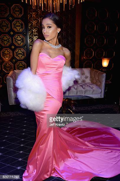 Recording artist Ariana Grande attends the 2016 MTV Movie Awards at Warner Bros Studios on April 9 2016 in Burbank California MTV Movie Awards airs...