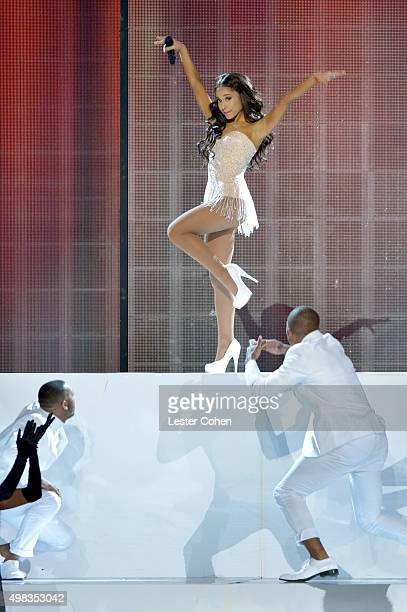 Recording artist Ariana Grande performs onstage during the 2015 American Music Awards at Microsoft Theater on November 22 2015 in Los Angeles...