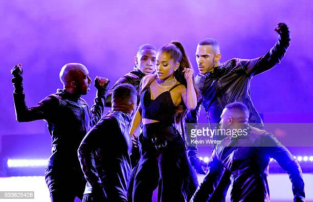 Recording artist Ariana Grande performs onstage during the 2016 Billboard Music Awards at TMobile Arena on May 22 2016 in Las Vegas Nevada