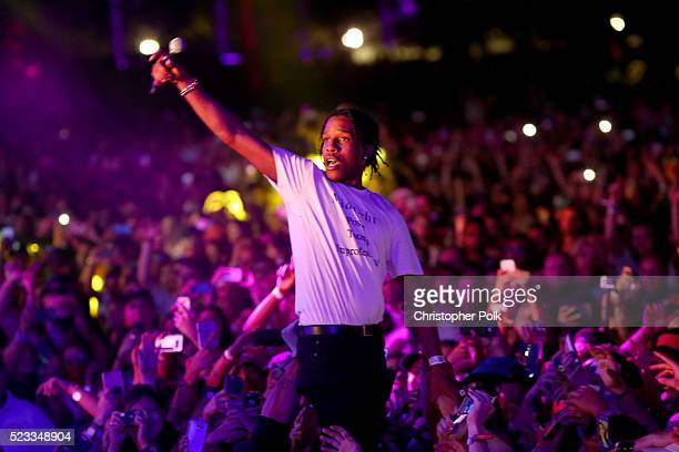 Recording artist ASAP Rocky performs in the crowd during day 1 of the 2016 Coachella Valley Music Arts Festival Weekend 2 at the Empire Polo Club on...