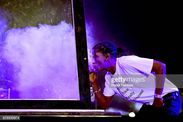 Recording artist ASAP Rocky performs onstage during day 1 of the 2016 Coachella Valley Music Arts Festival Weekend 2 at the Empire Polo Club on April...