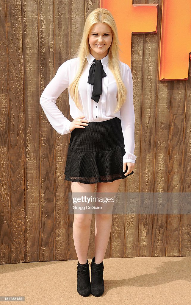 Recording artist Ashlee Keating arrives at the Los Angeles premiere of 'Free Birds' at Westwood Village Theatre on October 13, 2013 in Westwood, California.