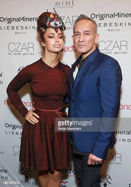 Recording Artist Aura Dione and designer Cesar Galindo attend the Czar By Cesar Galindo presentation during Spring 2014 MercedesBenz Fashion Week at...