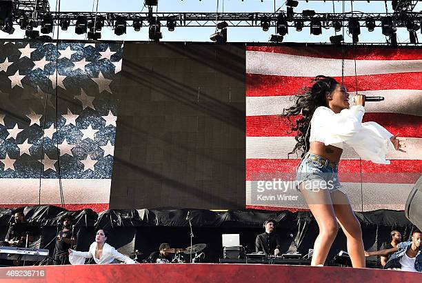 Recording artist Azealia Banks performs onstage during day 1 of the 2015 Coachella Valley Music Arts Festival at the Empire Polo Club on April 10...