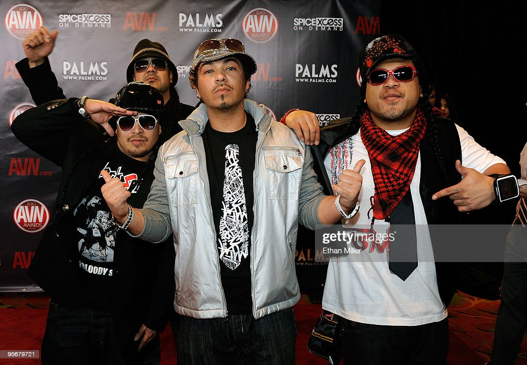Recording artist <a gi-track='captionPersonalityLinkClicked' href=/galleries/search?phrase=Baby+Bash&family=editorial&specificpeople=233817 ng-click='$event.stopPropagation()'>Baby Bash</a> (C) arrives with Da Stooie Bros. at the 27th annual Adult Video News Awards Show at the Palms Casino Resort January 9, 2010 in Las Vegas, Nevada.