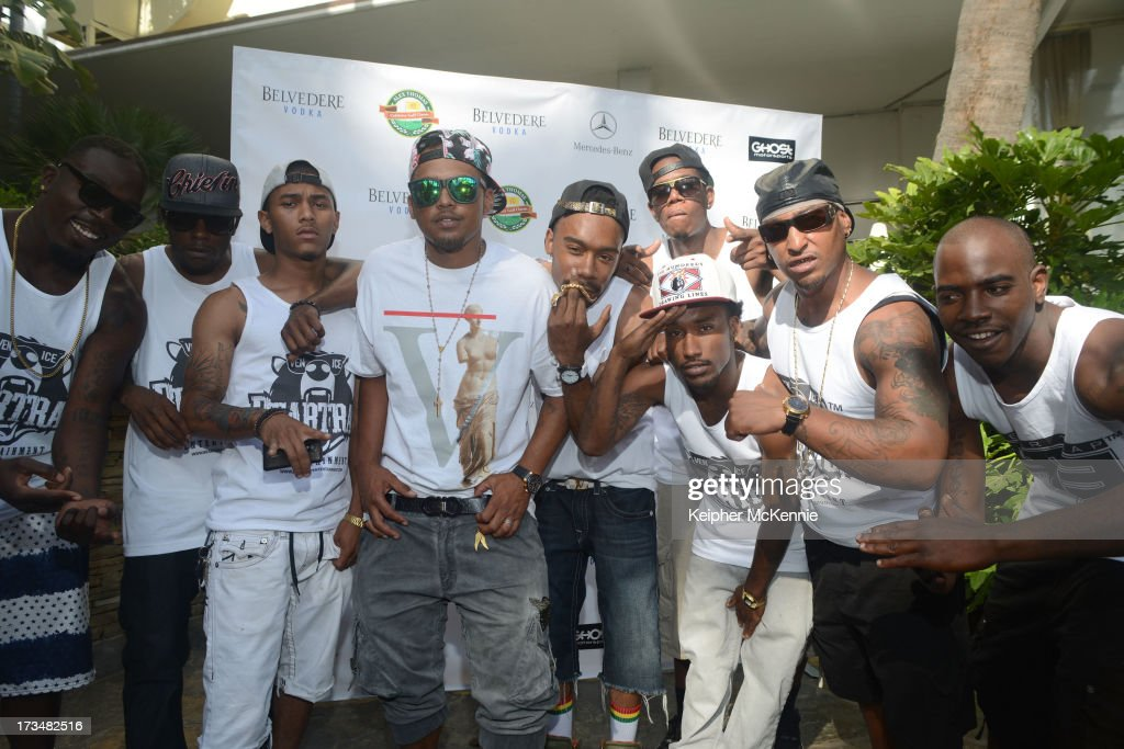 Recording artist Beartrap arrive to the 4th Annual Alex Thomas Celebrity Golf Weekend Pool Party hosted by NFL's Jacoby Jones of the Baltimore Ravens at Hollywood Roosevelt Hotel on July 14, 2013 in Hollywood, California.