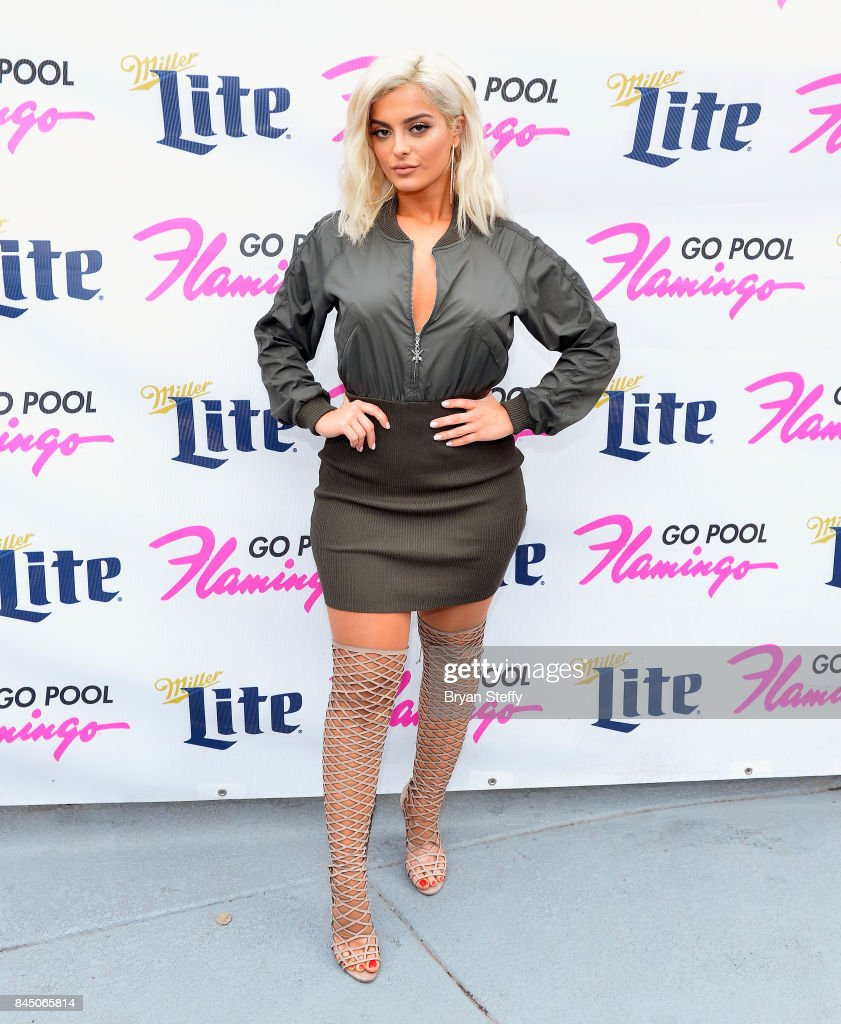 Recording artist Bebe Rexha arrives at the Flamingo GO pool at Flamingo Las Vegas on September 9, 2017 in Las Vegas, Nevada.