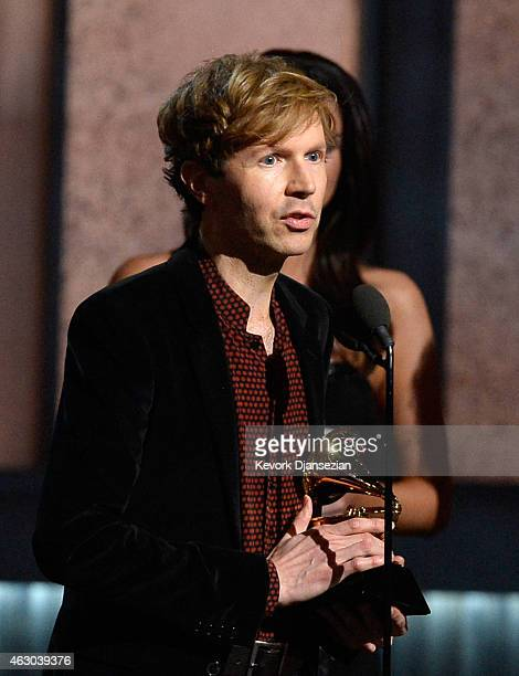 Recording artist Beck accepts the Album of the Year award for 'Morning Phase' onstage during The 57th Annual GRAMMY Awards at the at the STAPLES...