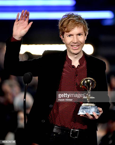 Recording artist Beck accepts the Best Rock Album award for 'Morning Phase' onstage during The 57th Annual GRAMMY Awards at the STAPLES Center on...