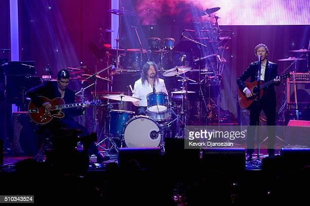 Recording artist Beck and surviving members of the music group Nirvana Pat Smear and Dave Grohl perform onstage during the 2016 PreGRAMMY Gala and...