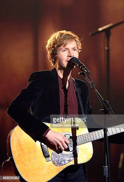 Recording artist Beck performs 'Heart Is a Drum' onstage during The 57th Annual GRAMMY Awards at the at the STAPLES Center on February 8 2015 in Los...