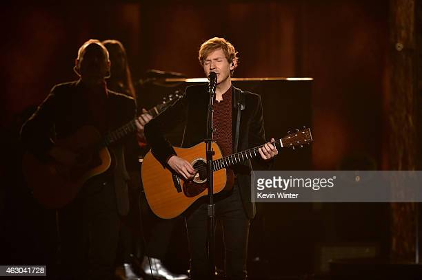Recording artist Beck performs onstage during The 57th Annual GRAMMY Awards at the STAPLES Center on February 8 2015 in Los Angeles California