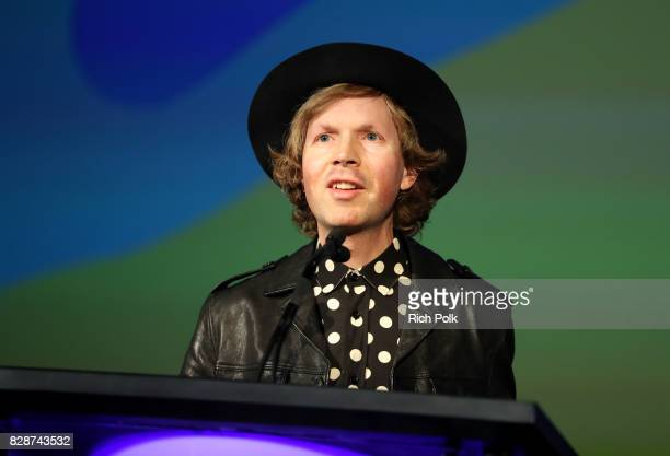 Recording artist Beck speaks onstage during Capitol Music Group's Premiere Of New Music And Projects For Industry And Media at ArcLight Cinemas on...