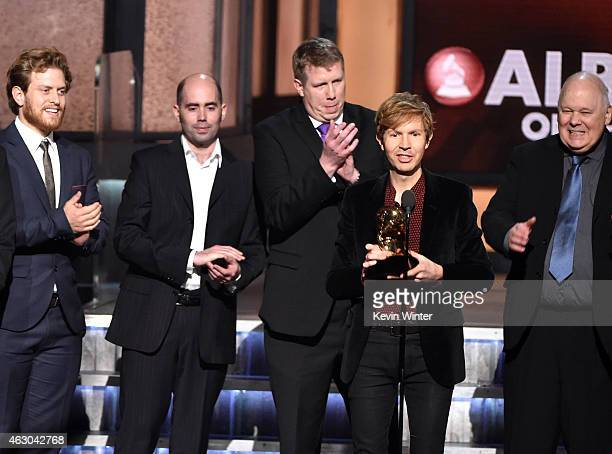 Recording artist Beck with his producers speaks onstage during The 57th Annual GRAMMY Awards at the STAPLES Center on February 8 2015 in Los Angeles...