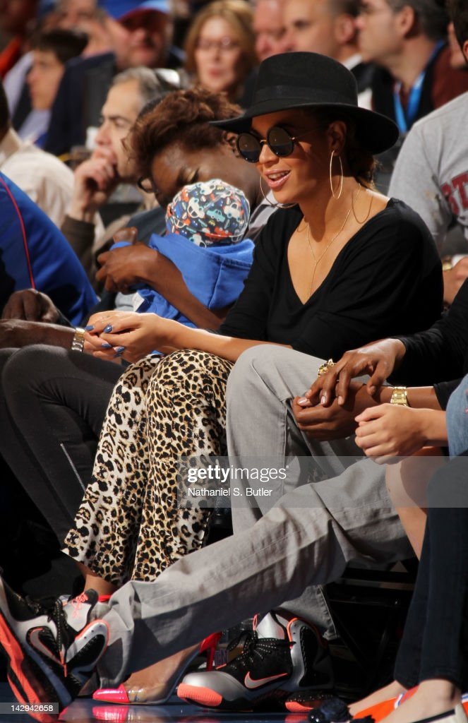 Recording artist <a gi-track='captionPersonalityLinkClicked' href=/galleries/search?phrase=Beyonce+Knowles&family=editorial&specificpeople=171204 ng-click='$event.stopPropagation()'>Beyonce Knowles</a> attends the game between the Miami Heat and New York Knicks on April 15, 2012 at Madison Square Garden in New York City.