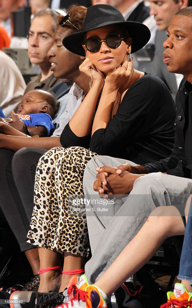 Recording artist <a gi-track='captionPersonalityLinkClicked' href=/galleries/search?phrase=Beyonce+Knowles&family=editorial&specificpeople=171204 ng-click='$event.stopPropagation()'>Beyonce Knowles</a> looks on during the game between the Miami Heat and New York Knicks on April 15, 2012 at Madison Square Garden in New York City.