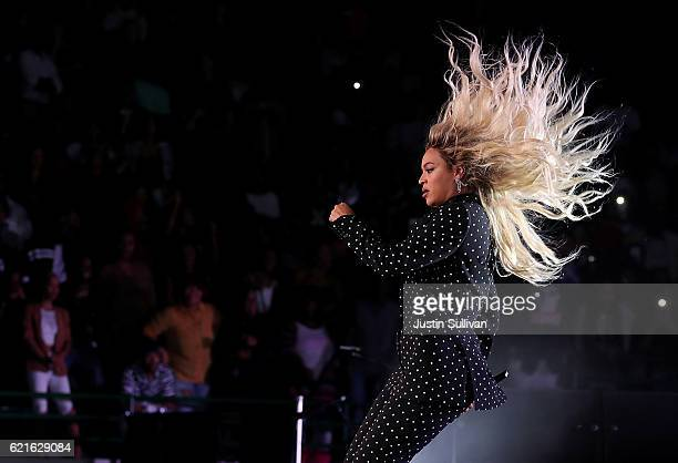 Recording artist Beyonce performs during a Get Out The Vote concert for Democratic presidential nominee Hillary Clinton at Wolstein Center on...
