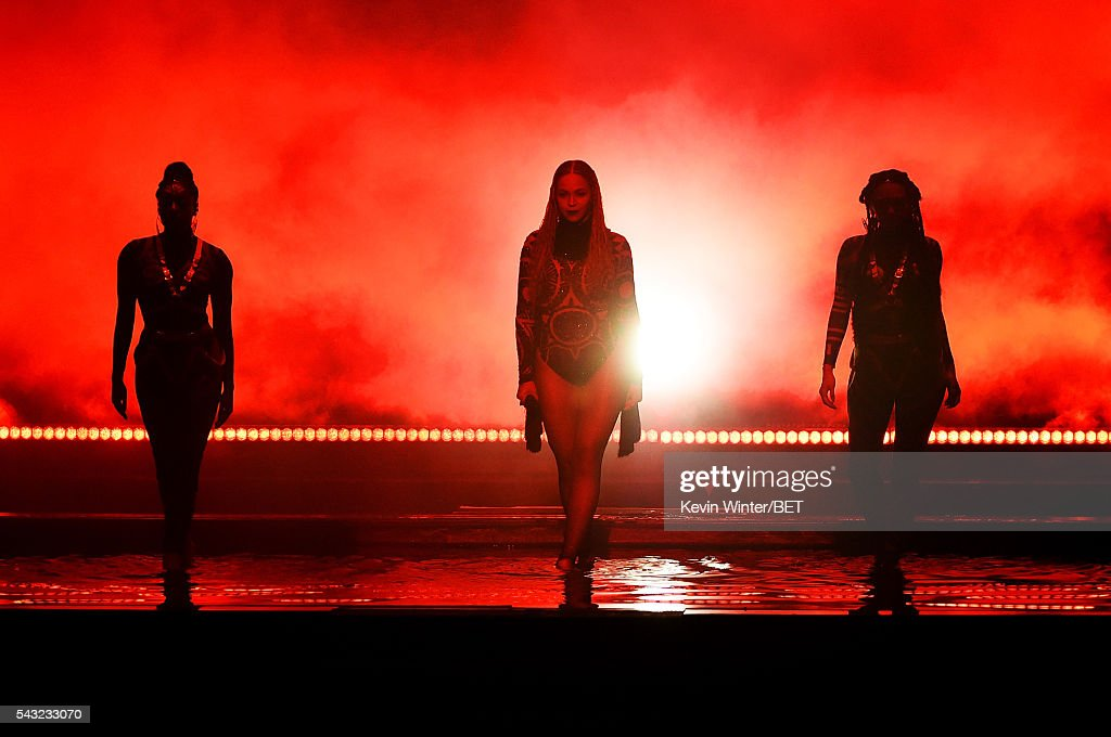 Recording artist Beyonce (C) performs onstage during the 2016 BET Awards at the Microsoft Theater on June 26, 2016 in Los Angeles, California.