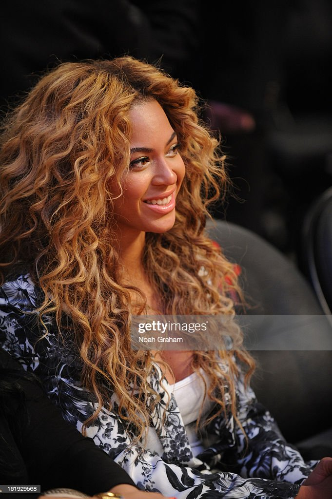 Recording artist Beyonce sits courtside during the 2013 NBA All-Star Game presented by Kia on February 17, 2013 at the Toyota Center in Houston, Texas.