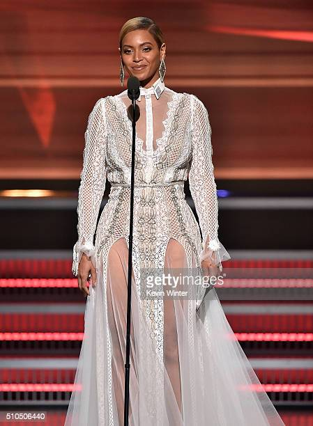 Recording artist Beyonce speaks onstage during The 58th GRAMMY Awards at Staples Center on February 15 2016 in Los Angeles California