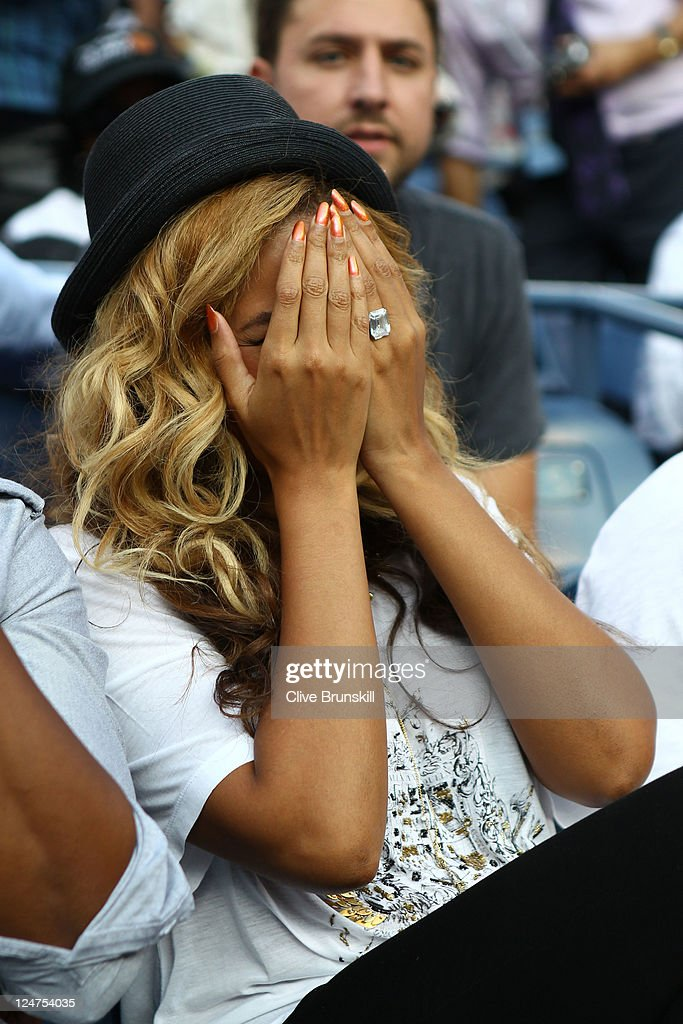 Recording artist Beyonce watches Rafael Nadal of Spain and Novak Djokovic of Serbia play during the Men's Final on Day Fifteen of the 2011 US Open at...