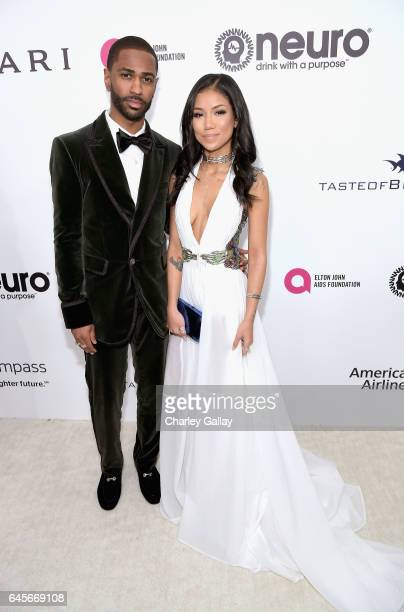 Recording artist Big Sean and Jhene Aiko Tran attend the 25th Annual Elton John AIDS Foundation's Academy Awards Viewing Party with cocktails by...