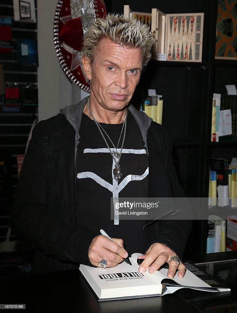 Recording artist Billy Idol attends a signing for his book 'Dancing With Myself' at Book Soup on October 11 2014 in West Hollywood California