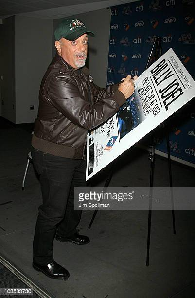 Recording artist Billy Joel attends a press conference before the premiere of 'The Last Play At Shea' at Citi Field on August 21 2010 in the Queens...