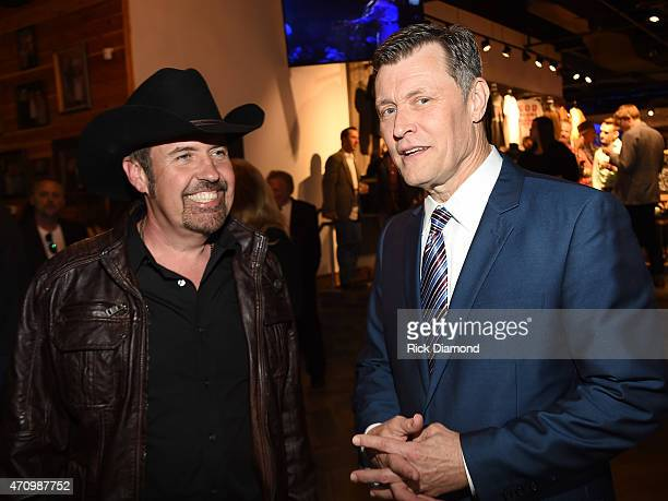 Recording Artist Billy Yates and WSM 650AM's Bill Cody attend Recording Artist and Legend George Jones Museum Grand Opening on April 23 2015 in...