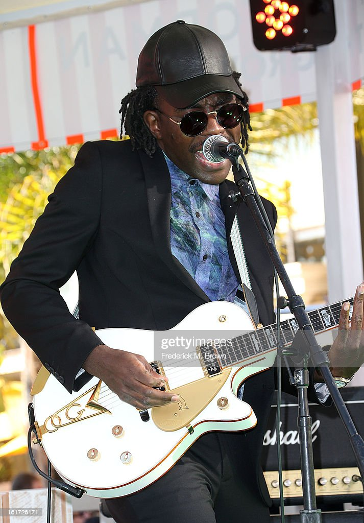Recording artist Blood Orange performs during the Topshop Topman LA Grand Opening at The Grove on February 14, 2013 in Los Angeles, California.