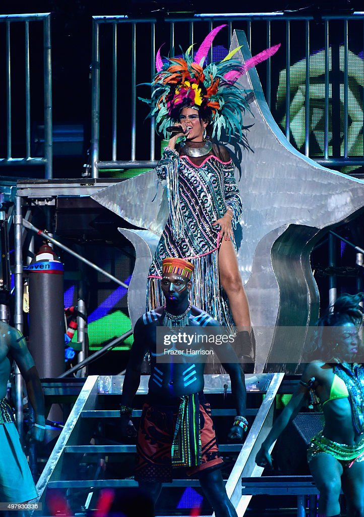 Recording artist <a gi-track='captionPersonalityLinkClicked' href=/galleries/search?phrase=Bomba+Estereo&family=editorial&specificpeople=5970048 ng-click='$event.stopPropagation()'>Bomba Estereo</a> performs onstage during the 16th Latin GRAMMY Awards at the MGM Grand Garden Arena on November 19, 2015 in Las Vegas, Nevada.