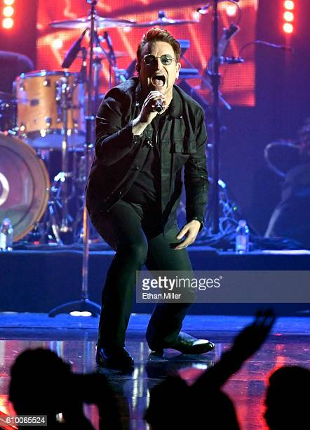 Recording artist Bono of music group U2 performs onstage at the 2016 iHeartRadio Music Festival at TMobile Arena on September 23 2016 in Las Vegas...
