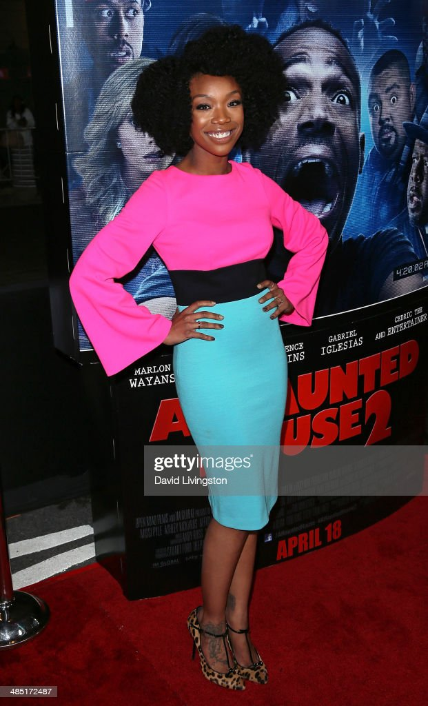 Recording artist <a gi-track='captionPersonalityLinkClicked' href=/galleries/search?phrase=Brandy+Norwood&family=editorial&specificpeople=202122 ng-click='$event.stopPropagation()'>Brandy Norwood</a> attends the premiere of Open Road Films' 'A Haunted House 2' at Regal Cinemas L.A. Live on April 16, 2014 in Los Angeles, California.