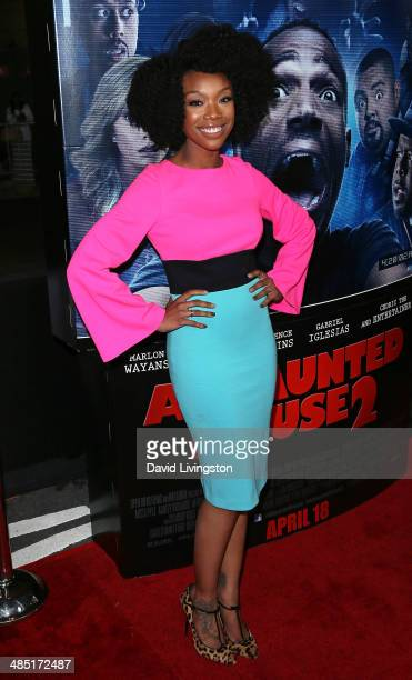 Recording artist Brandy Norwood attends the premiere of Open Road Films' 'A Haunted House 2' at Regal Cinemas LA Live on April 16 2014 in Los Angeles...