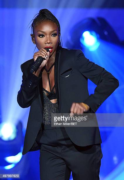 Recording artist Brandy performs during the 2015 Soul Train Music Awards at the Orleans Arena on November 6 2015 in Las Vegas Nevada