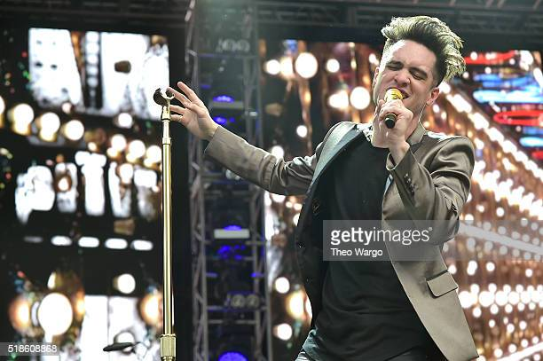 Recording artist Brendon Urie of Panic at the Disco performs on stage during the ATT Block Party at the NCAA March Madness Music Festival Day 1 at...