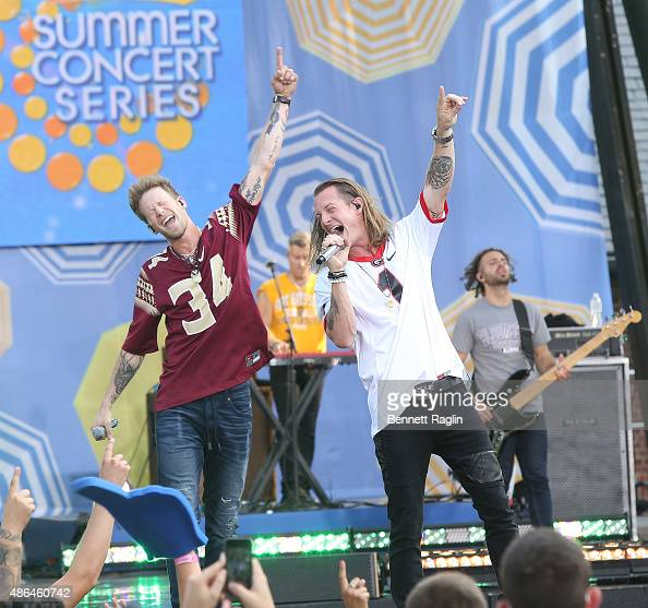 Recording artist Brian Kelley and Tyler Hubbard of Florida Georgia Line perform On ABC's 'Good Morning America' at Rumsey Playfield Central Park on...