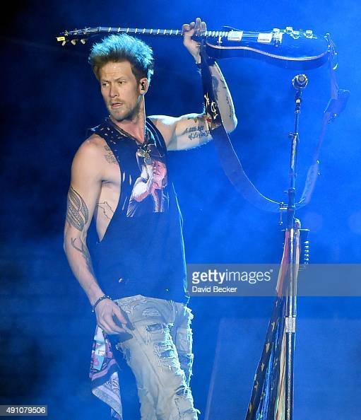 Recording artist Brian Kelley of Florida Georgia Line performs during the Route 91 Harvest country music festival at the Las Vegas Village on October...