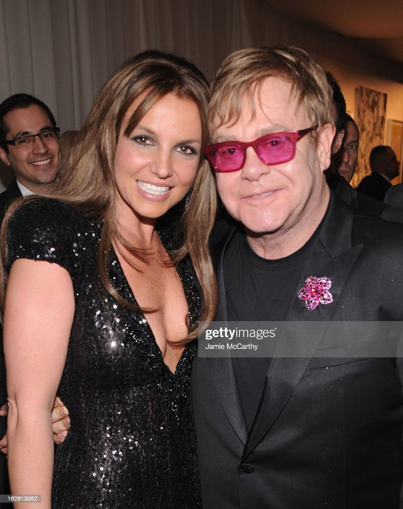 Recording Artist Britney Spears and Sir Elton John attend the 21st Annual Elton John AIDS Foundation Academy Awards Viewing Party at West Hollywood Park on February 24, 2013 in West Hollywood, California.