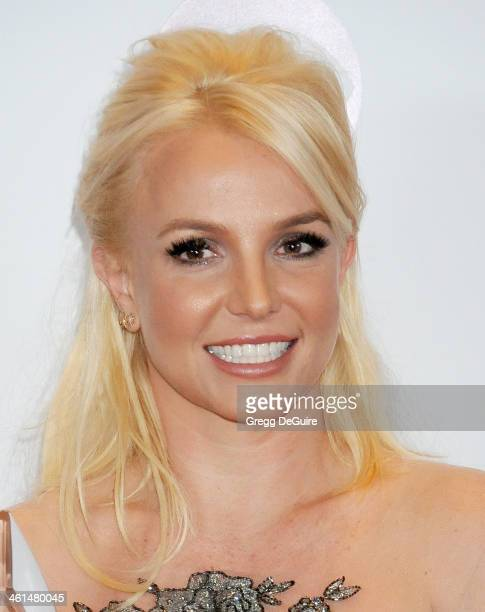 Recording artist Britney Spears poses in the press room at the 40th Annual People's Choice Awards at Nokia Theatre LA Live on January 8 2014 in Los...