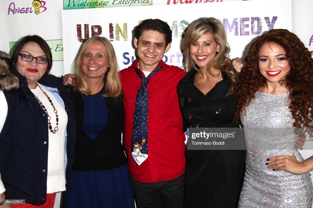 Recording artist Brittany Glodean, Allie Gilliland, actor Alex Dale and guests attend the 'Up In Arms' comedy fundraiser benefiting Children's Hospital Los Angeles held at Park La Brea Theater on December 8, 2013 in Los Angeles, California.