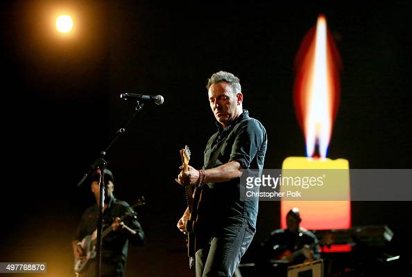 Recording artist Bruce Springsteen performs onstage at AE Networks 'Shining A Light' concert at The Shrine Auditorium on November 18 2015 in Los...