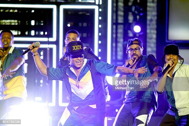 Recording artist Bruno Mars performs onstage during the 2016 American Music Awards held at Microsoft Theater on November 20 2016 in Los Angeles...
