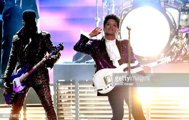 Recording artist Bruno Mars performs onstage during The 59th GRAMMY Awards at STAPLES Center on February 12 2017 in Los Angeles California