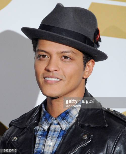 Recording Artist Bruno Mars poses at The GRAMMY Nominations Concert Live Countdown To Music's Biggest Night at Nokia Theatre LA Live on November 30...